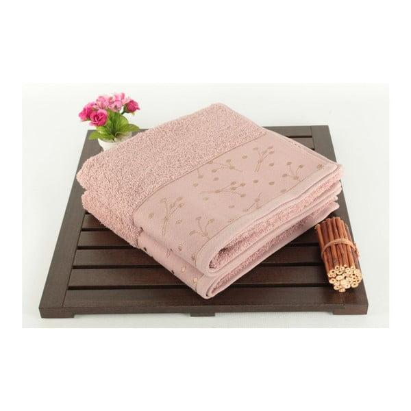 Sada 2 světle růžových ručníků Tomur Dusty, 50x90cm