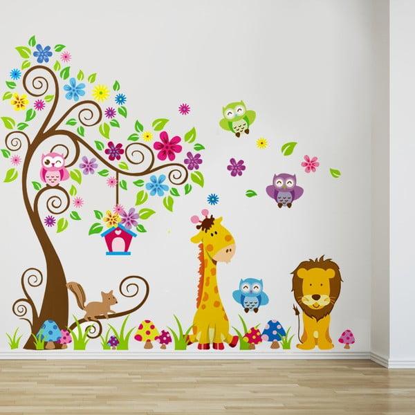 Samolepka na stěnu Strom, žirafa a lev, 60x90 cm