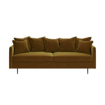 Canapea cu tapițerie din catifea Ghado Esme, 214 cm, galben închis - miere