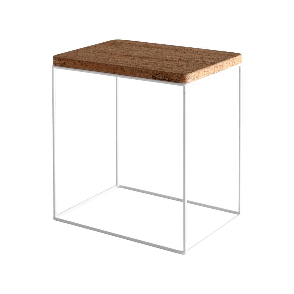 Odkládací stolek s korkovou deskou a bílou konstrukcí Custom Form Estimo, šířka 34 cm