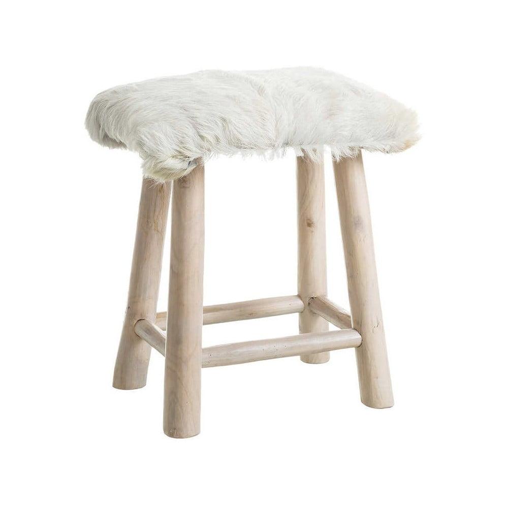 Přírodní stolička z recyklovaného teakového dřeva s kožešinovým sedákem Denzzo Genet