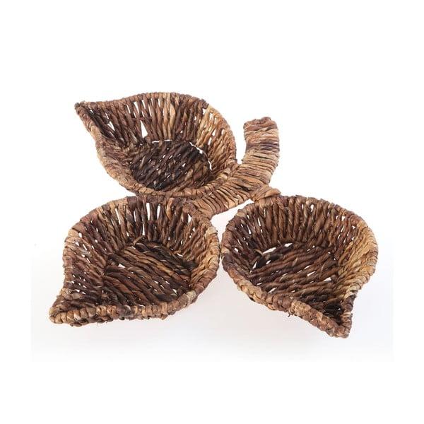 Proutěné misky Leaf Snack Brown