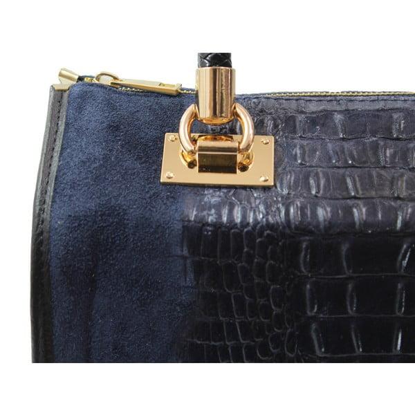 Tmavě modrá kožená kabelka Chicca Borse Signora