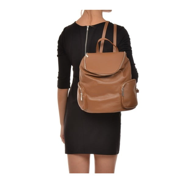 Koňakově hnědý kožený batoh Luisa Vannini Kuhma