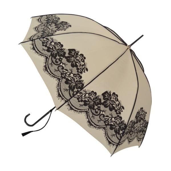 Béžový holový deštník Vintage, ⌀95cm
