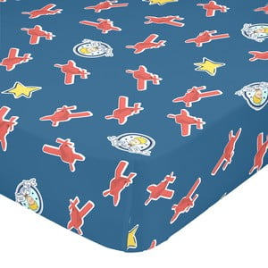 Modré elastické bavlněné prostěradlo Mr. Fox Son Avion, 90 x 200 cm