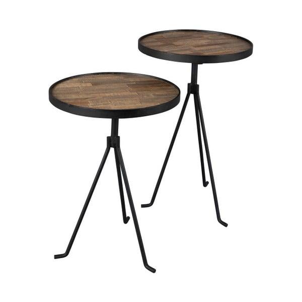 2 részes dohányzóasztal szett újrahasznosított teakfa lappal - Dutchbone