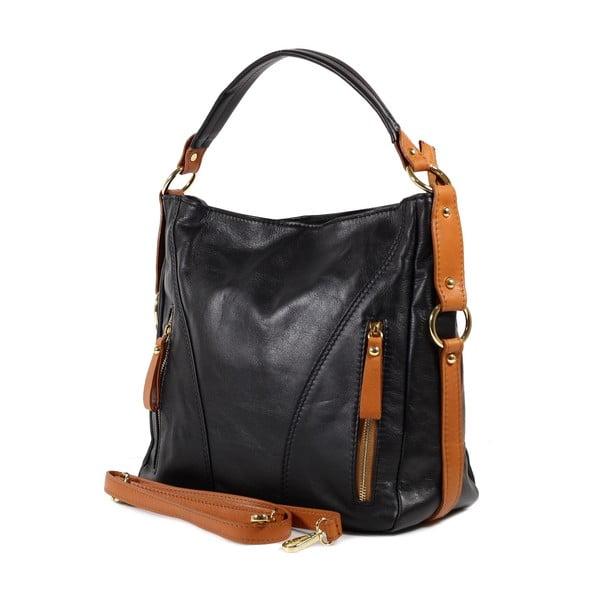 Kožená kabelka Linda, černá/koňak