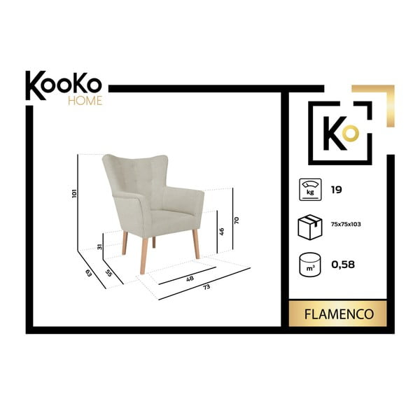 Fotoliu Kooko Home Flamenco, maro închis