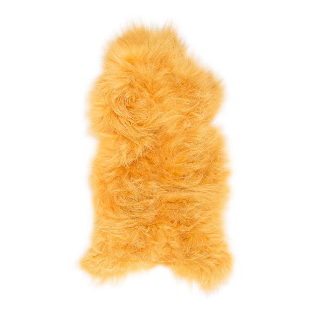 Žlutá ovčí kožešina s dlouhým chlupem, 110 x 60 cm