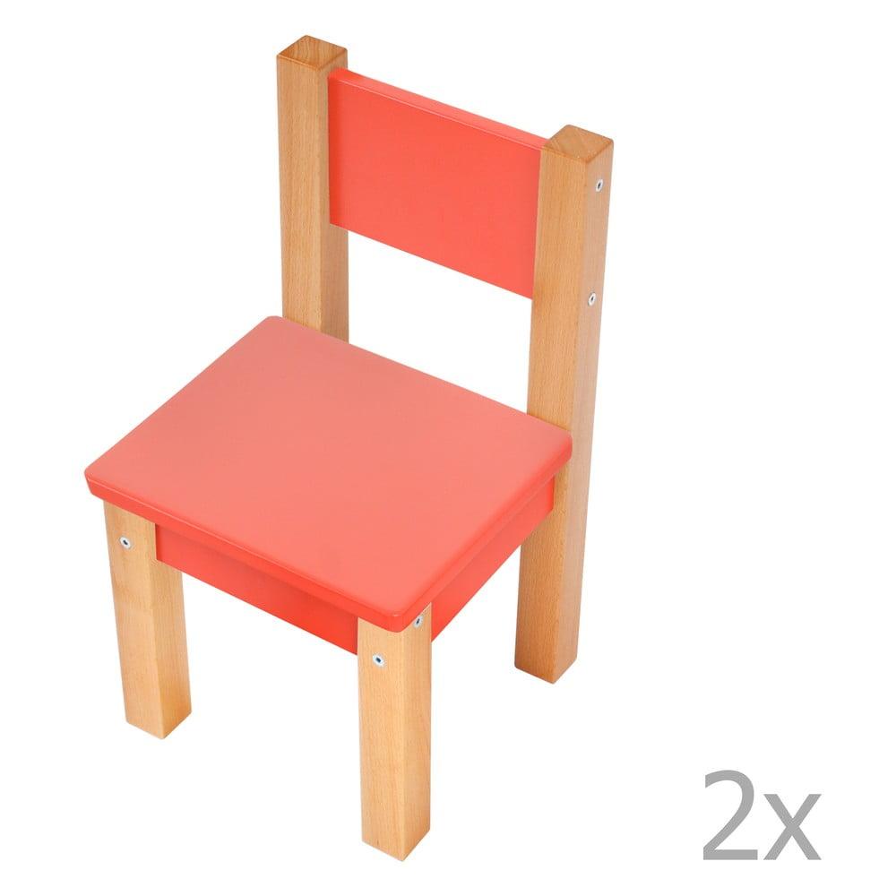 Sada 2 červených dětských židliček Mobi furniture Mario