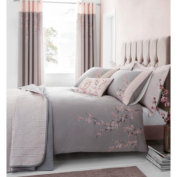Ružovo-sivé obliečky na dvjlôžko Catherine Lansfield Blossom. 220x230cm