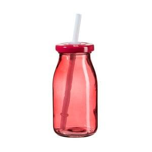 Červená lahev na smoothie s víčkem a brčkem SUMMER FUN II, 200ml
