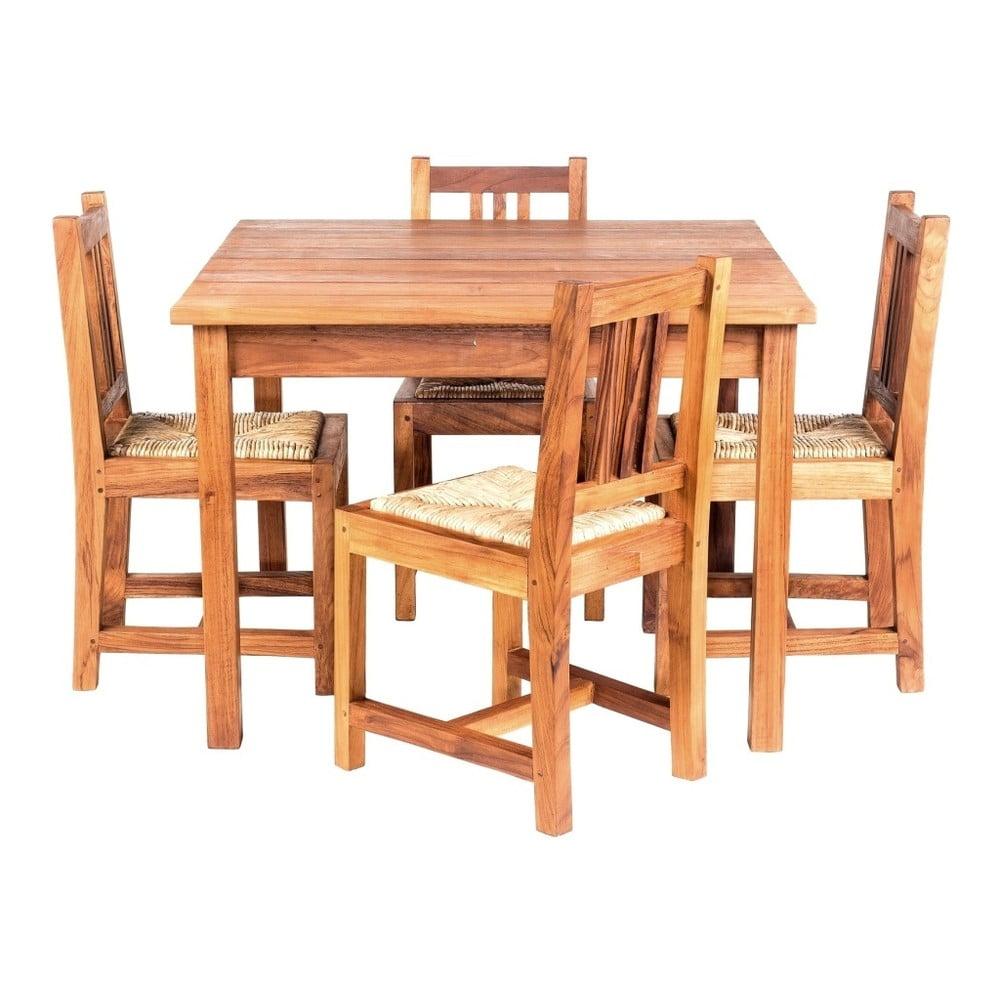 Dětský zahradní stůl se 4 židlemi z teakového dřeva Massive Home Baby