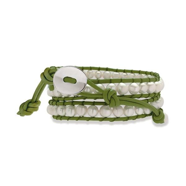 Světlezeleno-bílý kožený náramek s perlami Nova Pearls Copenhagen Néreus