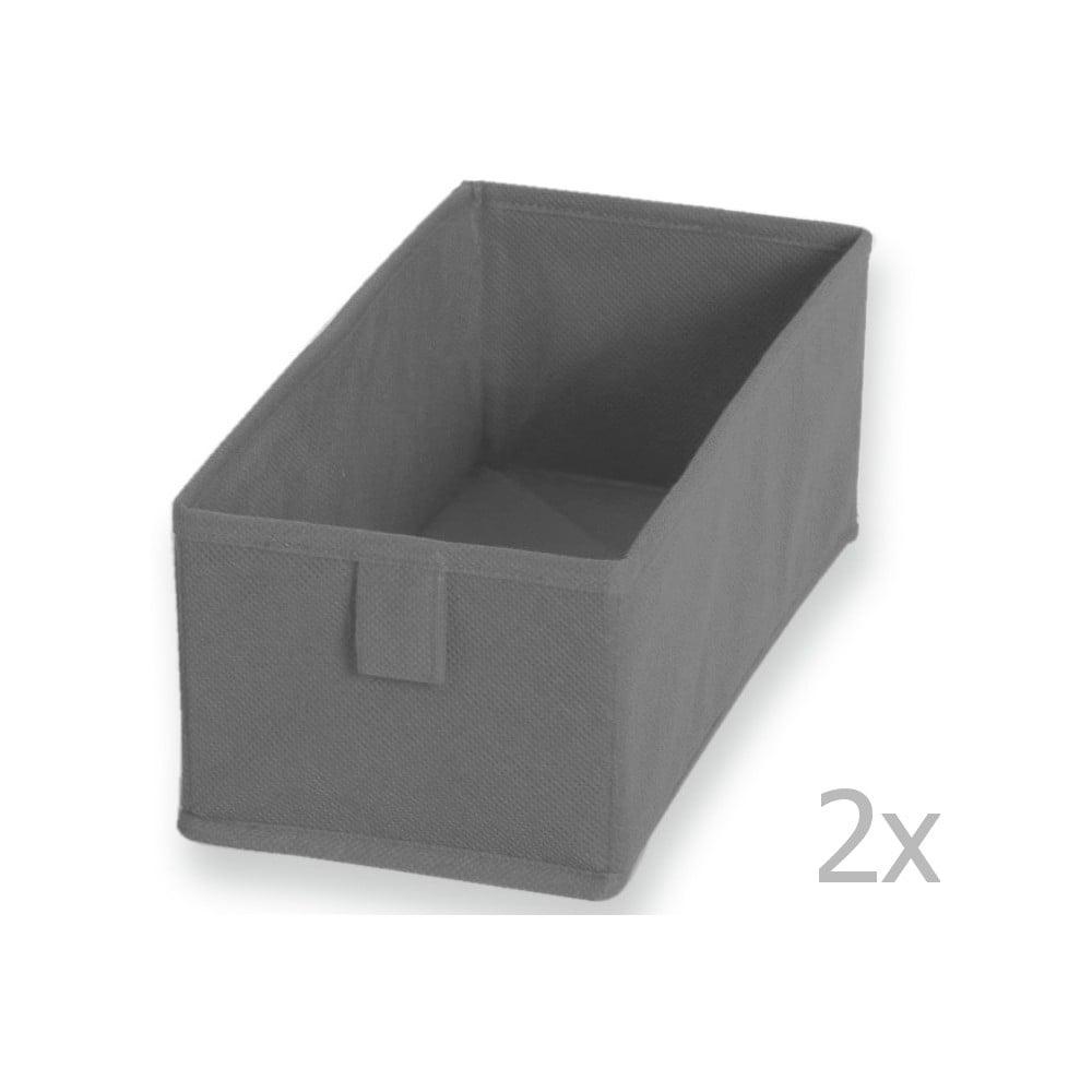 Sada 2 šedých textilních boxů JOCCA, 28 x 13 cm