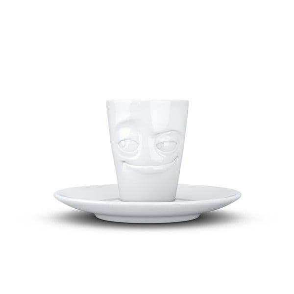 Biely usmievavý porcelánový hrnček na espresso s tanierikom 58products