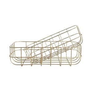 Sada 2 úložných košíků ve zlaté barvě House Doctor Shiny