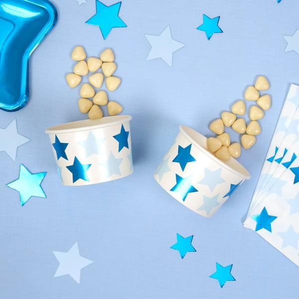 Zestaw 8 niskich kubeczków papierowych Neviti Little Star Blue