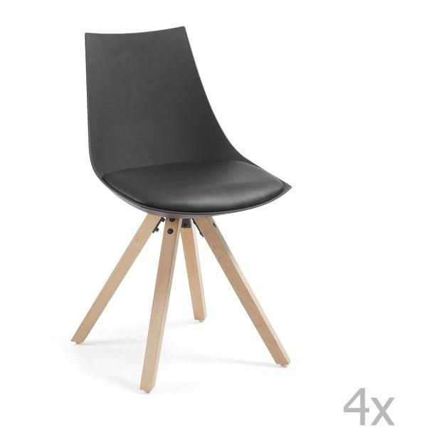 Sada 4 černých židlí La Forma Armony