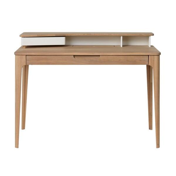 Birou din lemn de stejar alb Unique Furniture Amalfi