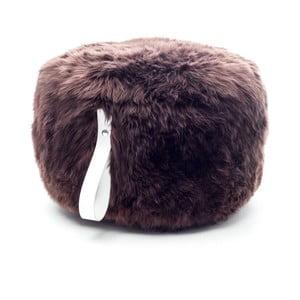 Hnědo-bílý kulatý puf z ovčí vlny Royal Dream,⌀ 60cm