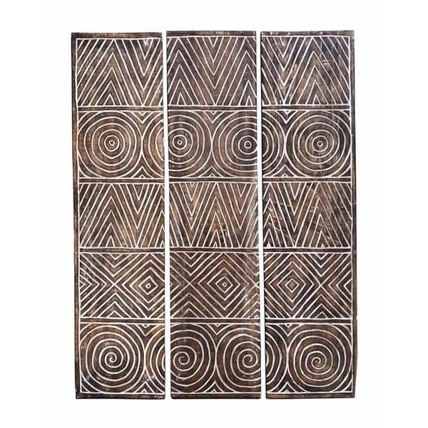 Sada 3 dekorativních panelů z teakového dřeva Moycor Geometric, 110 x 140 cm