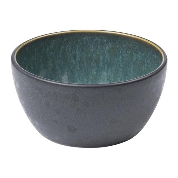 Černá kameninová miska s vnitřní glazurou v zelené barvě Bitz Mensa, průměr 10 cm