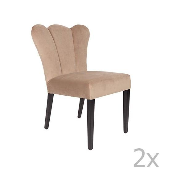 Sada 2 béžových židlí White Label Faye