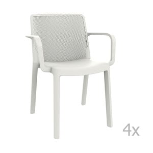 Sada 4 bílých zahradních židlí s područkami Resol Fresh