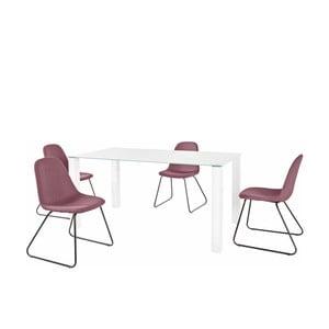 Set bílého jídelního stolu a 4 červených jídelních židlí Støraa Dante Colombo Duro