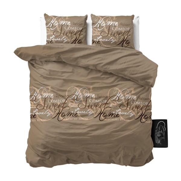 Lenjerie de pat din bumbac Dreamhouse Royal, 200 x 200 cm, gri - maro