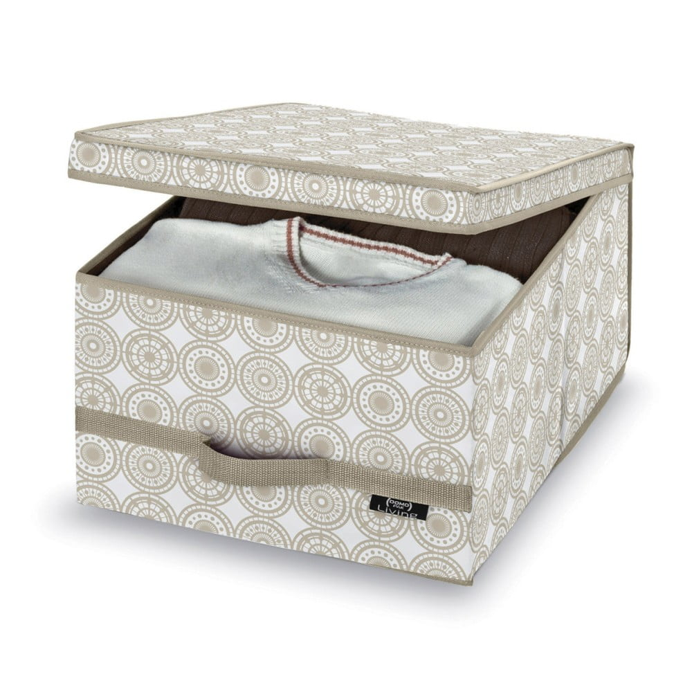 Béžový úložný box Domopak Ella, výška 50 cm