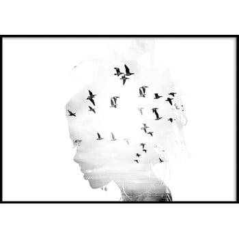 Poster cu ramă pentru perete GIRL/SILHOUETTE/BIRDS, 70 x 100 cm imagine