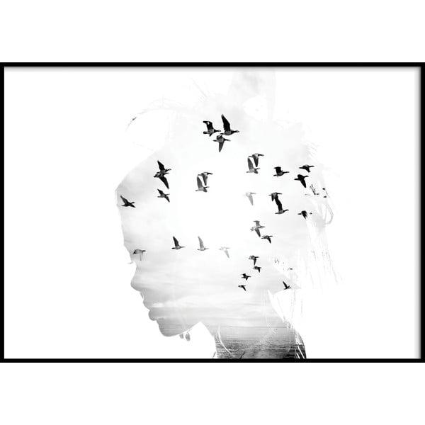 Nástěnný obraz GIRL/SILHOUETTE/BIRDS, 70x100cm