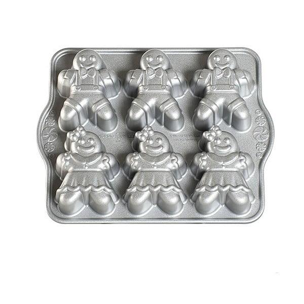 Forma na 6 minibáboviek v striebornej farbe Nordic Ware Girls And Boys, 1,1 l