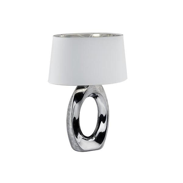 Stolní lampa v bílo-stříbrné barvě z keramiky a tkaniny Trio Taba, výška 52cm