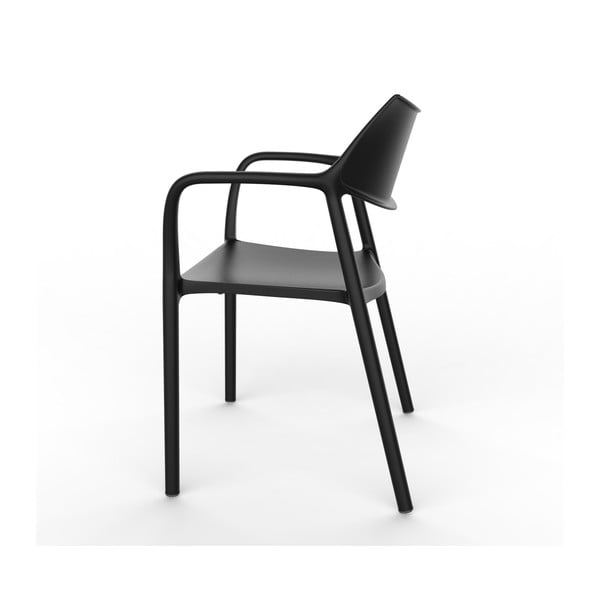 Set 2 scaune de grădină cu cotierei Resol Splash, negru
