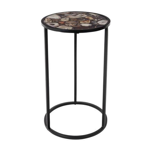 Odkladací stolík s doskou vykladanou achátom Dutchbone, ⌀ 30,5 cm