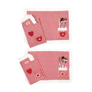 Sada 2 prostírání v textilním sáčku Basic Red