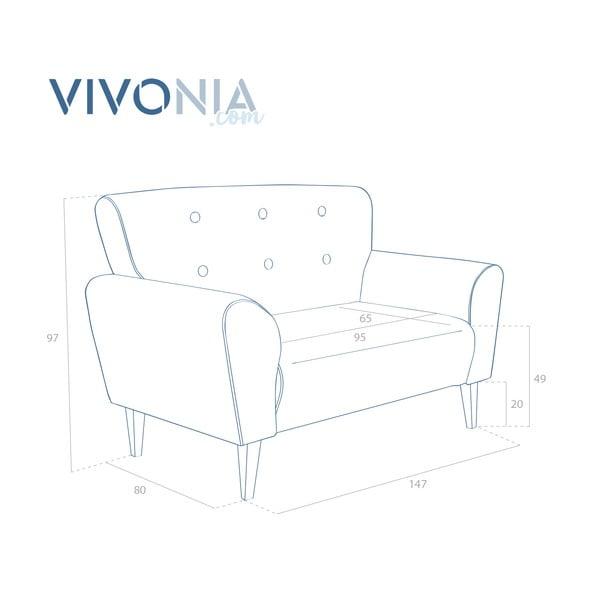 Bordó pohovka pro dva Vivonita Klara