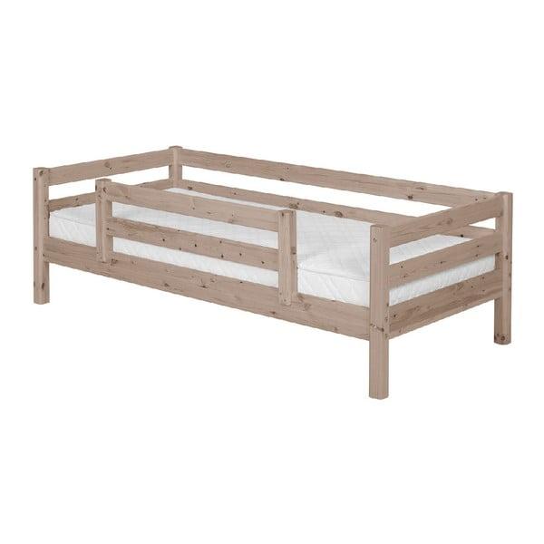 Brązowe łóżko dziecięce z drewna sosnowego z barierką bezpieczeństwa Flexa Classic, 90x200 cm
