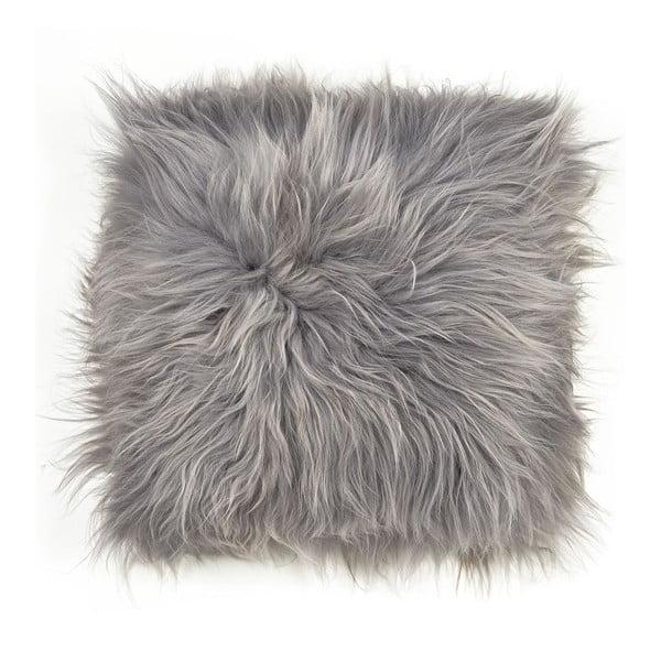 Pernă din blană cu fir lung pentru scaun, 45 x 45 cm, gri