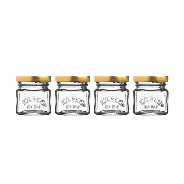Set 4 borcane mici cu capace filetate Kilner