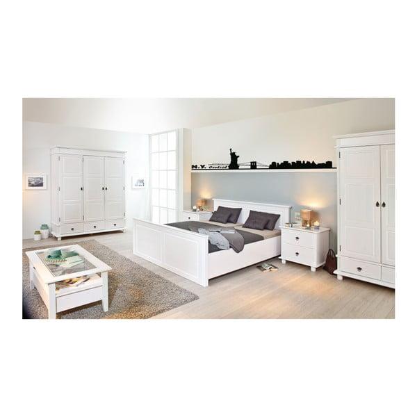 Bílá postel z borovicového dřeva Interlink Danz, 160 x 200 cm