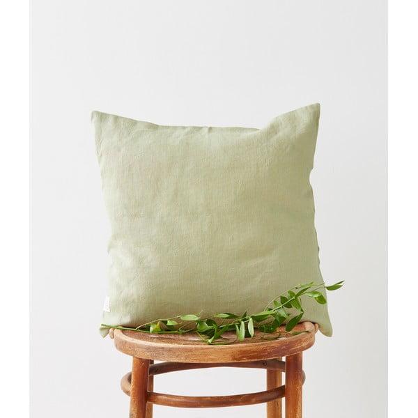 Față de pernă din in Linen Tales, 45 x 45 cm, verde deschis
