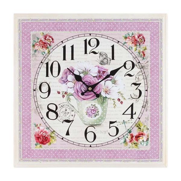 Dřevěné hodiny Pink Flowers, 42x42 cm