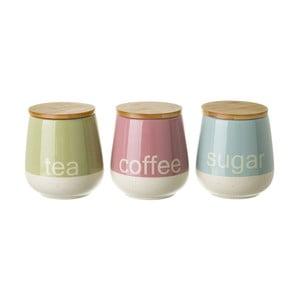 Sada 3 barevných dóz na čaj, kávu a cukr Unimasa