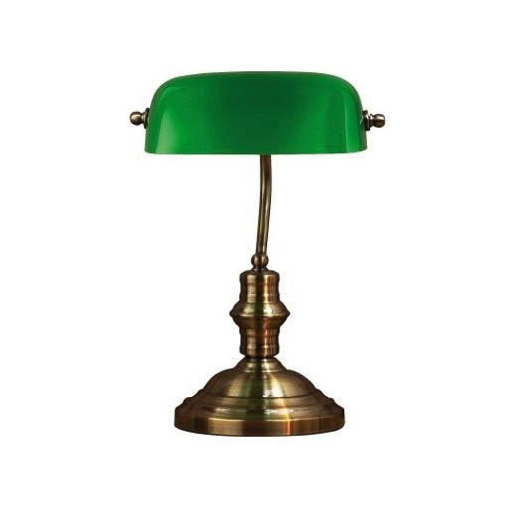 Stolní lampa v zelené a mosazné barvě Markslöjd Bankers, 42 cm