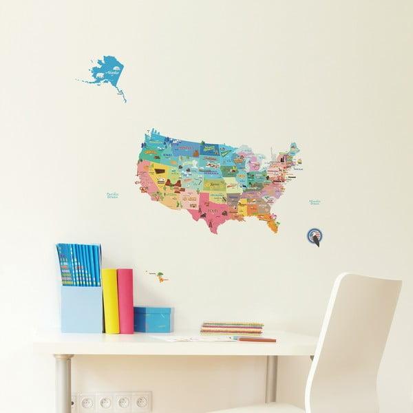 USA térkép falmatrica, 50 x 70 cm - Ambiance
